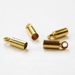 Концевик для шнура 2,3 мм, 9х3 мм (цвет - золото), 4 штуки