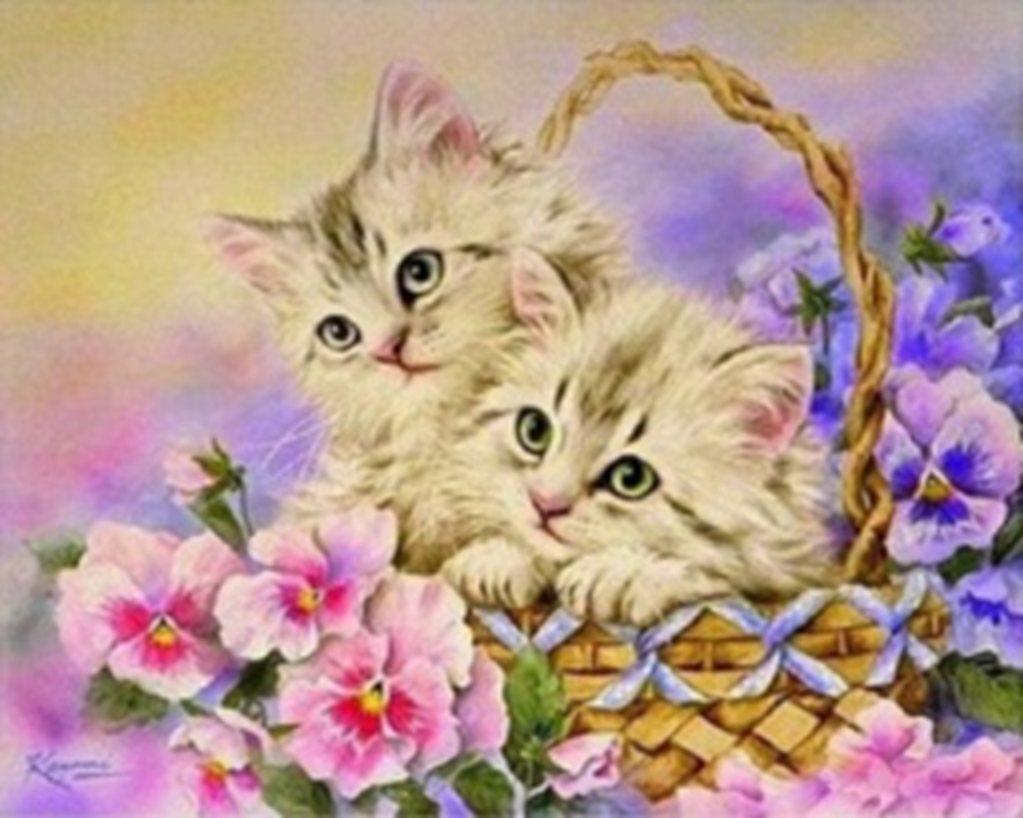 Картина раскраска по номерам 40x50 Котята в корзине ...