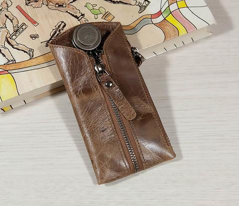 Удобная ключница из натуральной кожи с кармашком