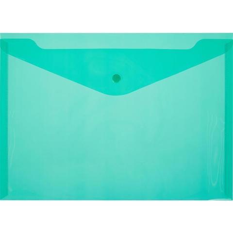Папка-конверт на кнопке А4 зеленая 0.18 мм  10шт/уп