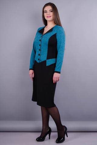Альфа. Платье в деловом стиле больших размеров. Бирюза/черный.
