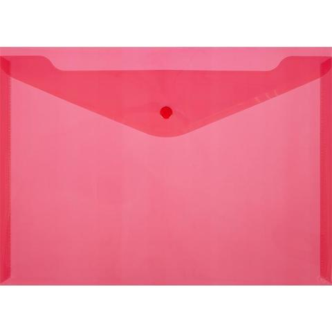 Папка-конверт на кнопке А4 красная 0.18 мм 10шт/уп