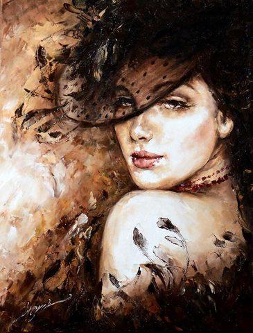 Картина раскраска по номерам 30x40 Девушка в шляпе– купить ...