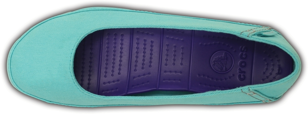 Женские балетки Crocs Stretch Sole Flat Pool/Light Grey (бирюзовые) 15317-4DL