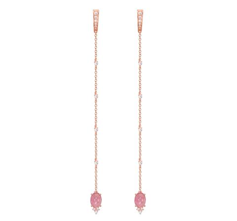 Серьги с розовым турмалином