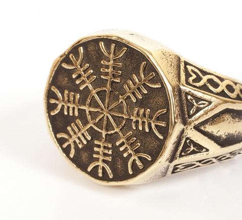 Мужской бронзовый защитный перстень со скандинавским символом Агисхъяльм или Шлем ужаса российского мелкосерийного производства размером 20 мм RH00610