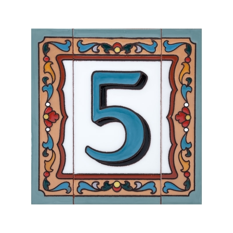 Цифра 5 с узким бордюром