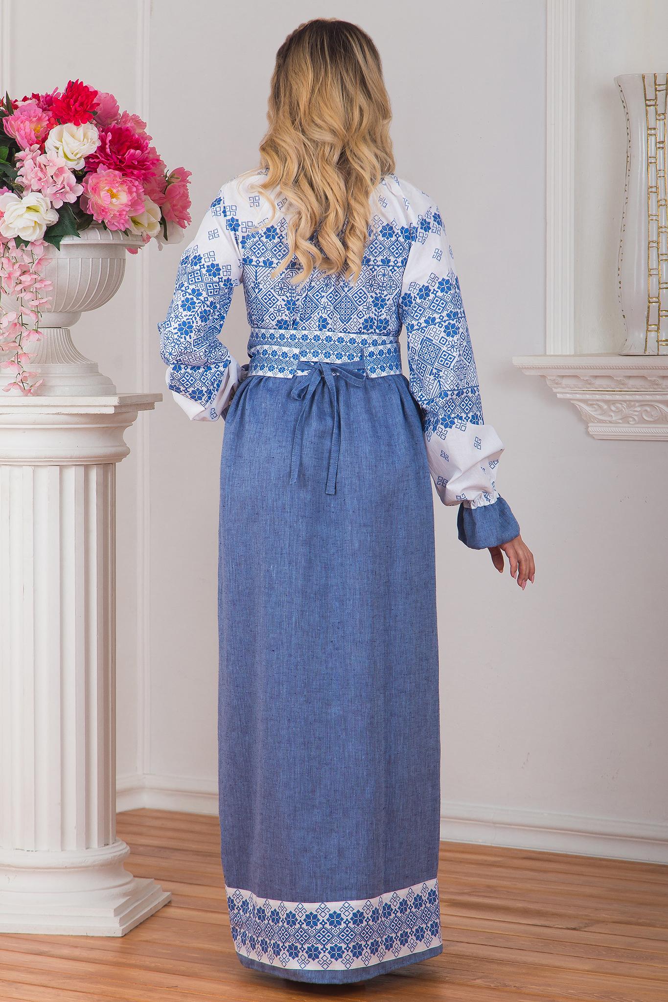 Платье Дары солнца в голубом вид сзади