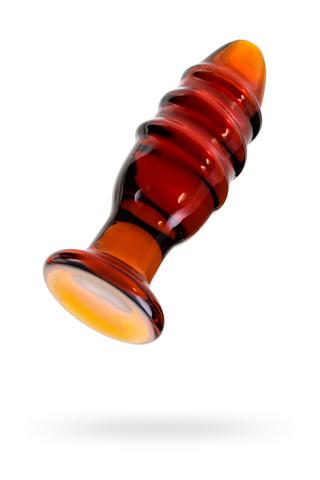 Анальная втулка Sexus Glass, стекло, коричневая, 12,5 см, Ø 4 см