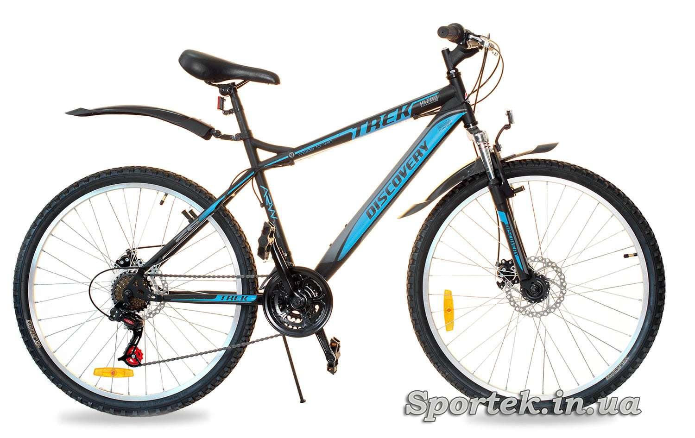 Черно-синий горный универсальный велосипед Discovery Trek DD 2016 (Дискавери Трек)