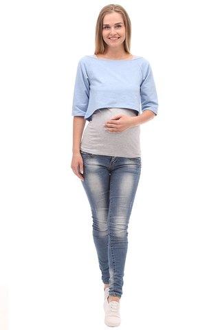Блузка для беременных и кормящих 09974 голубой/серый
