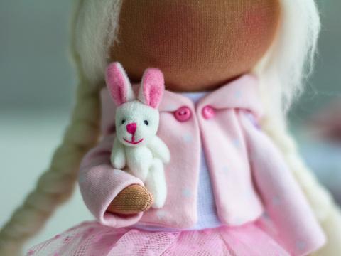 Іграшка для ляльки 4 см - зайчик білий
