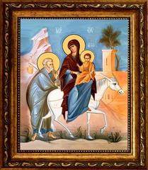 Бегство Святого Семейства в Египет. Икона на холсте.