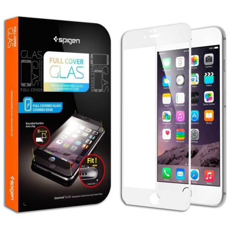 Spigen SGP Screen Protector Full Cover Glass for iPhone 6 Plus / 6S Plus White SGP11379