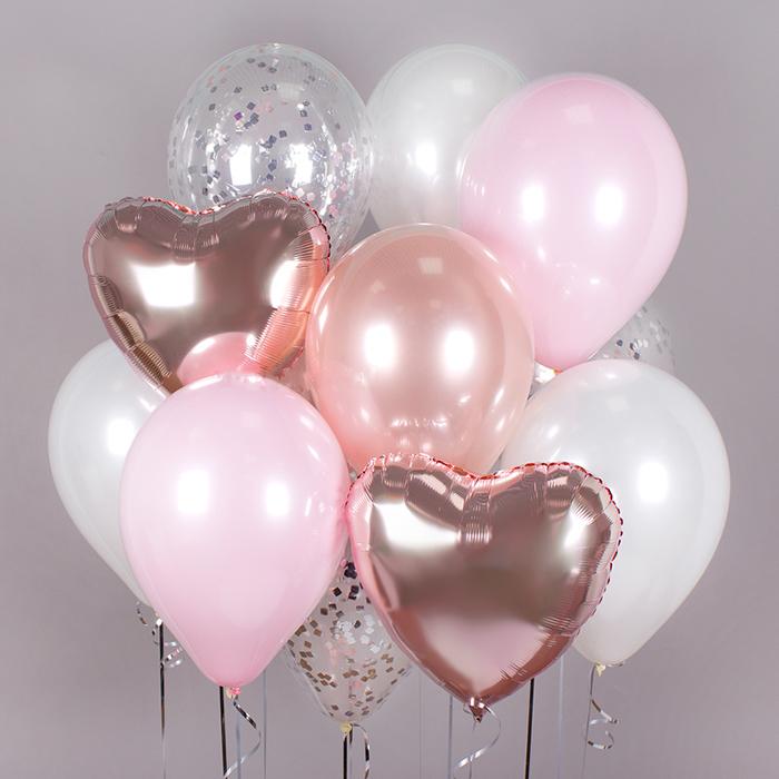 Воздушные шары розовое золото сердце купить в Перми