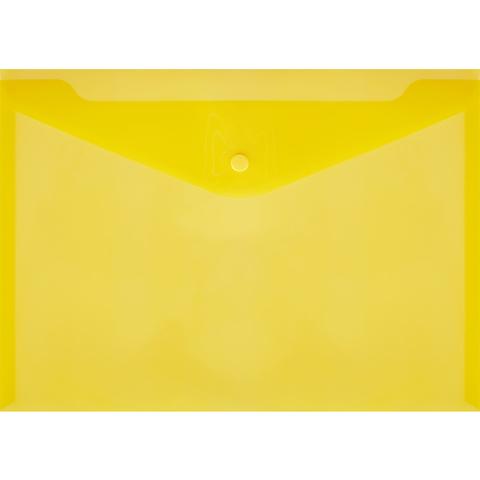 Папка-конверт на кнопке А4 желтая 0.18 мм 10шт/уп