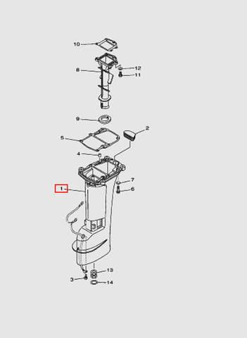 Дейдвуд  для лодочного мотора T15, OTH 9,9 SEA-PRO (15-1)