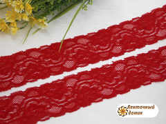 Кружево эластичное красное ширина 50 мм