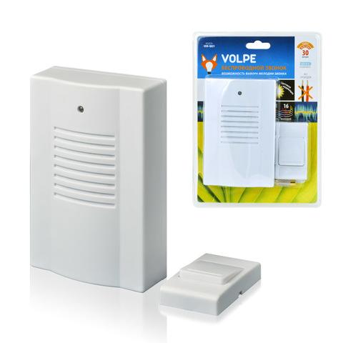 Звонок беспроводной ТМ Volpe UDB-Q021 W-R1T1-16S-30M-WH 16 мелодий. Световая индикация. Радиус действия 30 метров. Блистерная упаковка. Цвет-белый