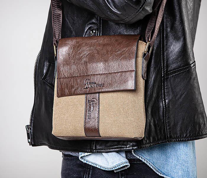 BAG561-2 Небольшая сумка на плечо из ткани и кожи