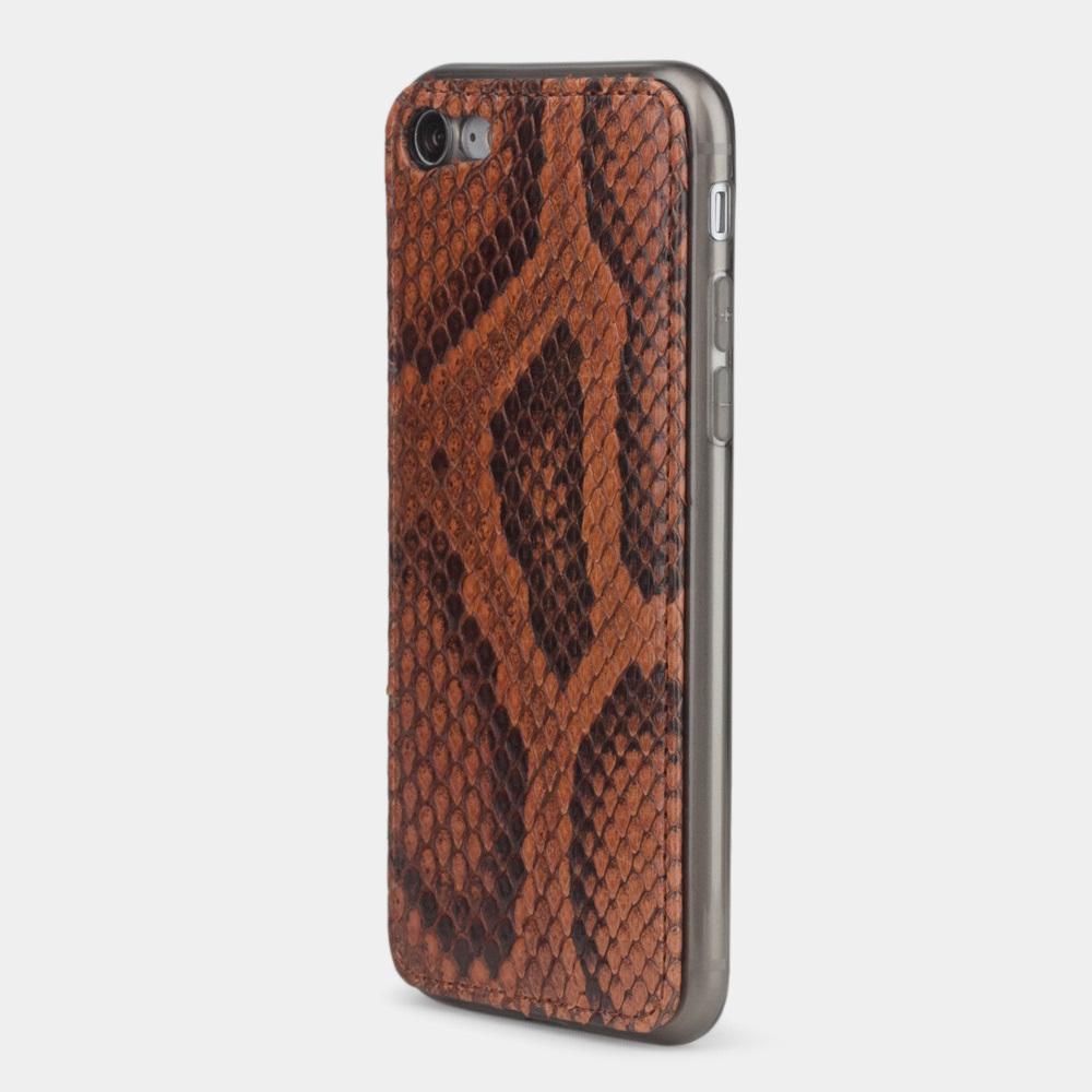 Чехол-накладка для iPhone 8 из натуральной кожи питона,  цвета коньяк