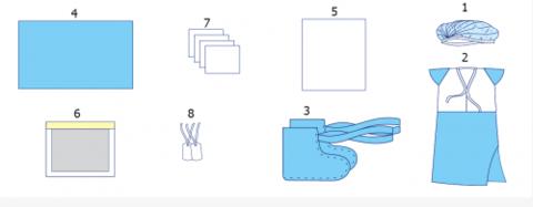 Комплект одежды и покрытий операционных акушерский