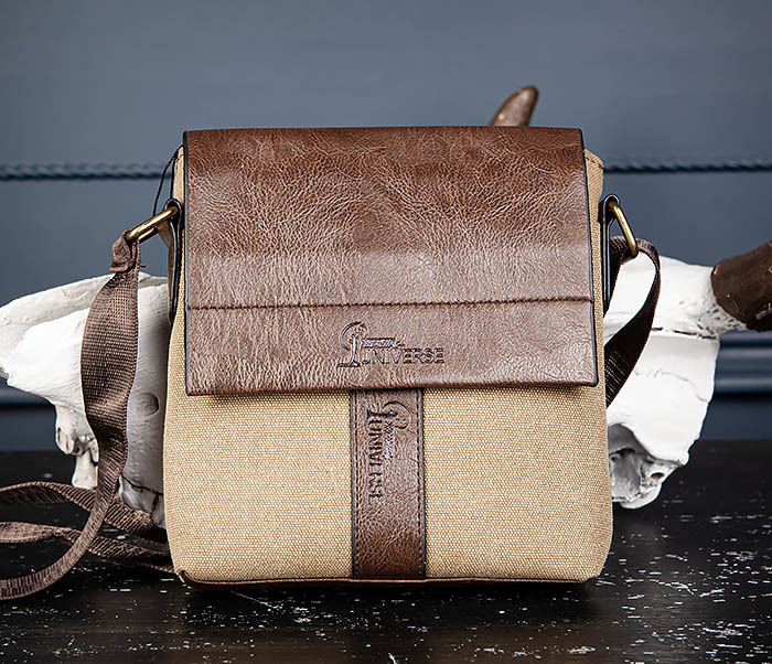 BAG561-2 Небольшая сумка на плечо из ткани и кожи фото 03