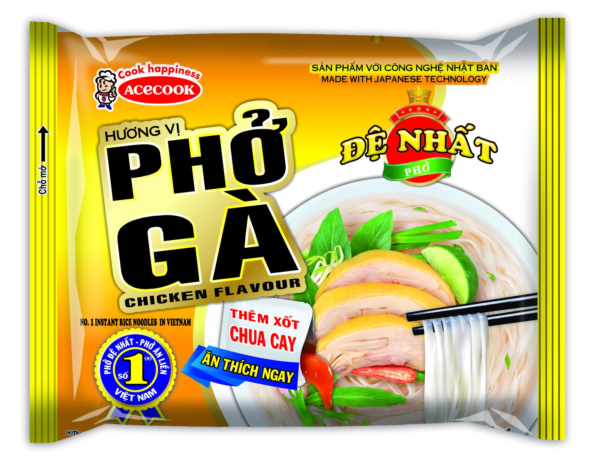 Вьетнамская рисовая лапша Фо Га, De Nhat, вкус курицы, 65 гр.