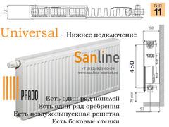 Радиатор Prado Universal Тип 11x500x800 Нижняя подводка