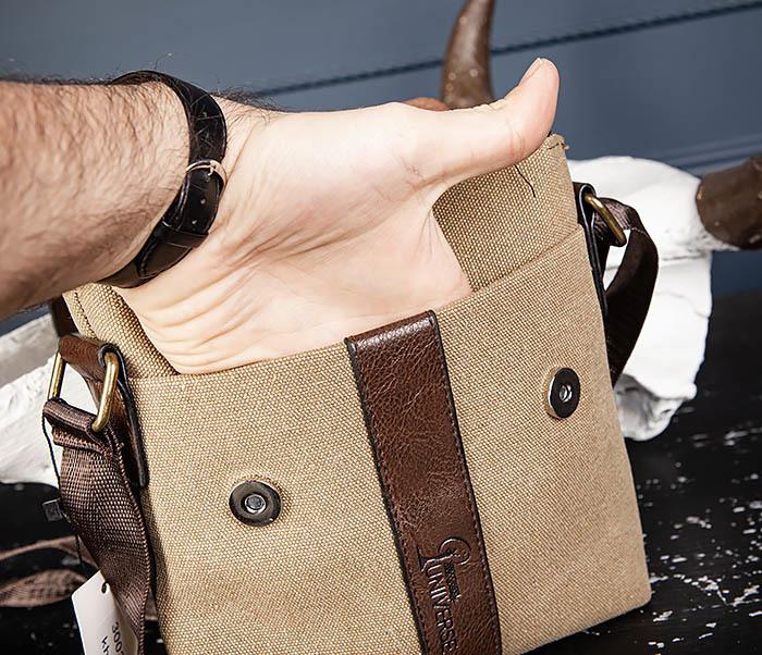 BAG561-2 Небольшая сумка на плечо из ткани и кожи фото 05