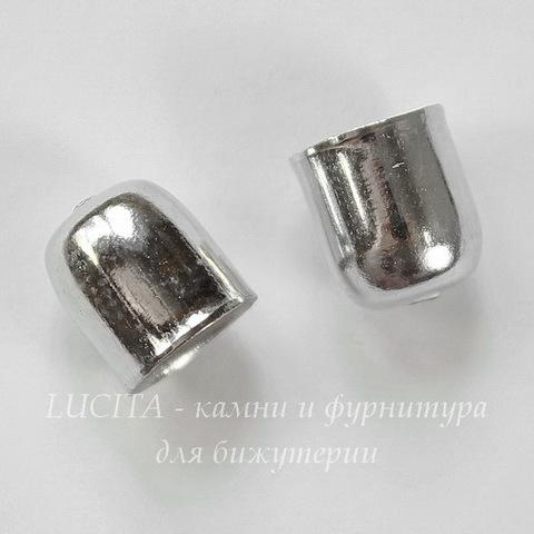 Концевик для шнура 7 мм (цвет - античное серебро) 9х8 мм, 10 штук