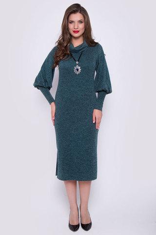 """Это платье создано для эффектных и уверенных в себе женщин. Мягкая структура ткани отлично сочетается с выбранным фасоном. Прямой силуэт и пышные рукава на высоком манжете удачно подчеркнут Вашу безупречную фигуру. Ворот """"хомут"""", по бокам разрезы. Длина платья 115 см"""