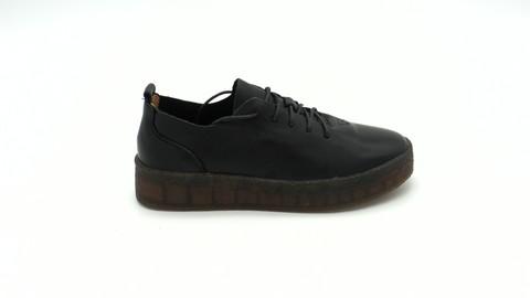 Черные кожаные полуботинки на высокой подошве