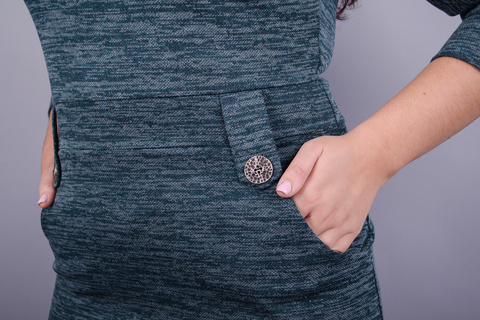 Ева. Женское платье в деловом стиле больших размеров. Изумруд.
