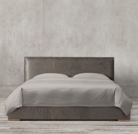 Lawson Panel Non-Tufted Leather Bed With Nailheads
