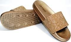 Красивые шлепки J.B.P. Shoes NU25 Gold.