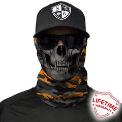 Бандана с черепом SA Orange & Grey Military Camo Skull