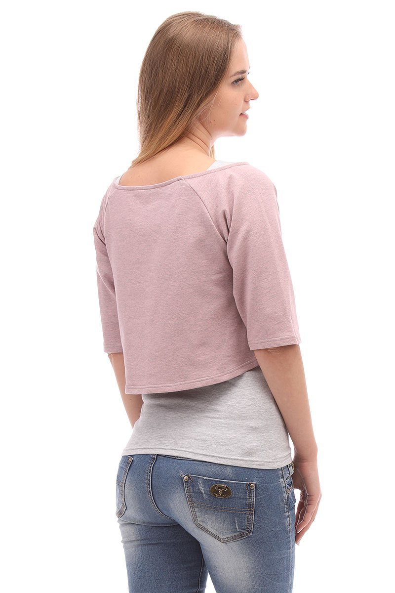 Блузка 09974 розовый-серый