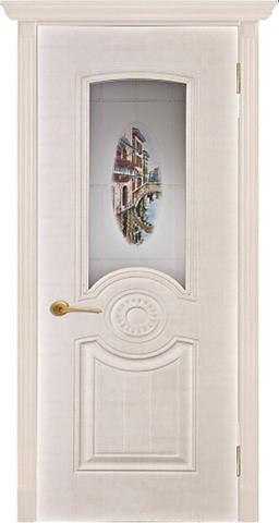 Дверь AIRON Венеция, стекло с фотопечатью, цвет белый сатин, остекленная