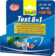TetraTest 6 в 1 GH/KH/NO2/NO3/pH/Cl полоски для пресной воды 25 шт.