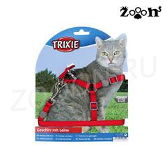 Trixie шлейка и поводок Premium для кошек и котов, красный