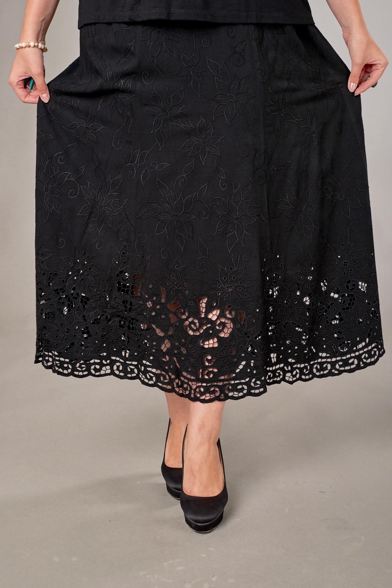 Юбка Анна черная  с мелким кружевом
