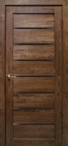 Дверь Эколайт Дорс Линия, стекло чёрное лакобель, цвет дуб шоколадный, остекленная