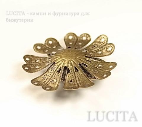 """Коннектор """"Цветок"""" 39х39 мм (цвет - античная бронза)"""