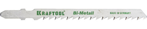 Полотна KRAFTOOL, T144DF, для эл/лобзика, Bi-Metall, по дереву, фанере, быстрый рез, EU-хвост., шаг 4мм, 75мм, 2шт