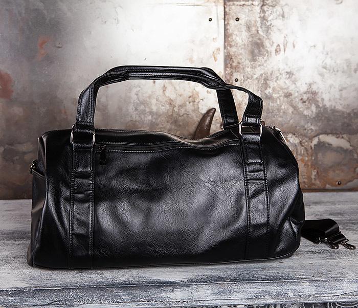 BAG429-1 Крутая кожная сумка - туба с ремнем на плечо фото 02