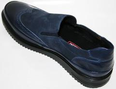 Мужские туфли лоферы броги. Luciano Bellini  Sport Blue
