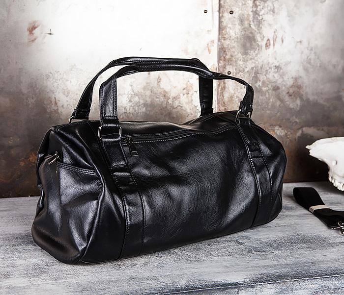 BAG429-1 Крутая кожная сумка - туба с ремнем на плечо фото 03