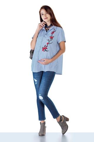 Блузка для беременных 10432 голубой