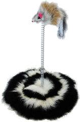Уют мышь из меха на пружине на подставке из меха 15*20см